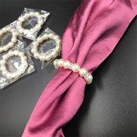 100 pcs / lote branco pérolas guardanapos anéis de guardanapo de casamento para casamentos recepção festa mesa decorações suprimentos 3 m2