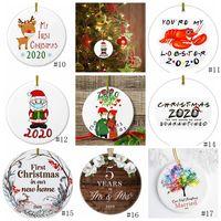 17style 2020 세라믹 크리스마스 장식품 3 인치 라운드 크리스마스 트리 펜던트 산타는 마스크 크리스마스 장식 GGA3786-1를 착용