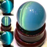 20MM الأزرق Cat's العين العقيق الكوارتز الطبيعية كريستال ستون شفاء سفير الكرة ديكور