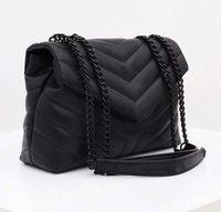 مصمم حقائب اليد loulou y- شكل مبطن جلد حقيقي المرأة أكياس سلسلة حقيبة الكتف جودة عالية رفرف حقيبة متعددة ل choo