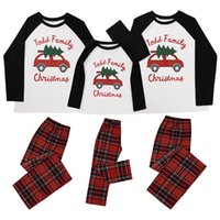 Genitore-figlio della famiglia di Natale Pigiama Xmas Design manica lunga plaid Due abbigliamento Pezzo adulti attrezzatura dei capretti Nuovo E110203