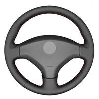 Black PU Faux кожаный DIY сшитый автомобиль рулевого колеса на 308 2007-2013 3008 2011-2020 гг. 408 2010-20141