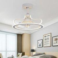 Ventilatori elettrici LED Modern Soffitto Ventilatore da soffitto Lampada Invisible Bedroom Sangue Sala da letto Pranzo Pranzo con1