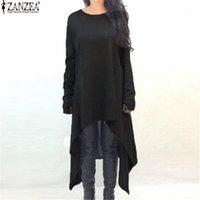 Повседневные платья Zanzea женщины зимний асимметричный свитер платье осень с длинным рукавом свободно вязаные миди Vestidos женская одежда плюс размер1