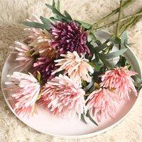 Fleurs décoratives Couronnes Jardin Artificial Chrysanthemum Flower Bouquet Véritable Touch Silk faux pour la décoration de mariage Décoration de la maison