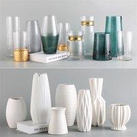 Настольные вазы для цветов керамические террариумные стеклянные контейнеры современный Nordic высокий цветок ваза домашнее украшение домашнего украшения белая ваза LJ201210