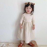 2021 Личный праздник осень Новые дети ребристые вязаные с длинным рукавом принцесса мода девушки es девочка одежда delh
