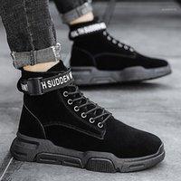 Olome Winterschuhe Männer Stiefel Lace-up Sneakers Kaltschutz Halten Sie warme flache beiläufige Baumwollschuhe Feste verschleißfeste Anti-Skid1