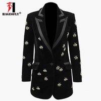 Kadın Takım Elbise Blazers S-XXXL Yüksek Kalite Kadife Blazer Kadınlar Kış Ağır Kristal Arı Boncuk Dekorasyon 2021 Tasarımcı Ünlü Parti Fashi