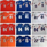 NCAA Football Florida Gators 81 هارون هيرنانديز جيرسي 11 كايل تراسك 84 كايل بيتس 15 تيم تيبو إيميت سميث كلية أزرق أبيض برتقالي