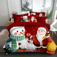 Горячие Продажа Рождество постельное белье 2020 3шт пододеяльник 3D цифровой печати костюмы Санта и снеговик Bed