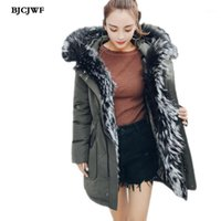Bjcjwf Mulheres Luxo Raccoon Collar Down Casaco Casual Hooded White Winter Jacket White Duck Down Overcoat Windproof Plus 5xl1
