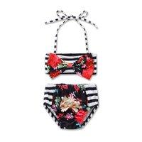 جديد فتاة الأزهار الأمريكية العلم ملابس السباحة ملابس القطن الأطفال القوس البيكينيات ملابس الطفل 22 ألوان C2137