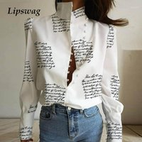 Office Lady Stand Neck Buttoned blouse Shirt Women Letter Pr...
