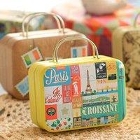 Regalo envolver caja de almacenamiento de metal vintage fiesta de boda caramelo retro maleta bolso pequeño caramelo rectangular / contenedor de chocolate1