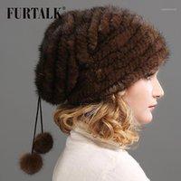 Furtalk قبعة قبعة للنساء الشتاء محبوك الفراء الحقيقي قبعة الروسية الدافئة الفراء قبعة قبعة بومبوم القبعات للإناث 20201