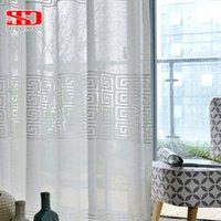 Janela geométrica branca cortina de tule para sala de estar moderna voile cortina pura para quarto cortinas de liner cozinha painel único lj201224