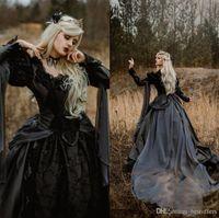 2021 vestido de novia vestido de bola elegante de la boda gótica medieval vestidos de Plata y Negro renacimiento de la fantasía victoriana Vampiros de manga larga