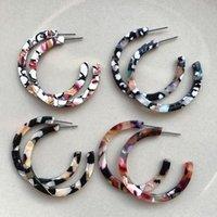 UJBOX New Japanese Korean Acetate Earrings Women Thin Big Acetic Acid Hoop Earrings Factory Wholesale