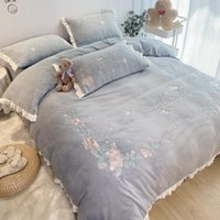 Hiver super chaud peluche de peluche de peluche de peluche de literie ensemble velours doux Velvet reine roi couverture couverture chat de lit taie d'oreiller textiles