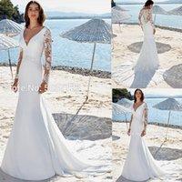 Cuello en V profundo de la sirena de los vestidos de manga larga de encaje apliques trasera del botón más el tamaño Vestido de novia de la boda Novias Vestidos Q1112
