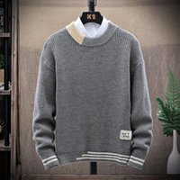 Autumn Men Sweaters Wool Knitted Casual Mens Patchwork Pullover O-Neck Thick Warm Male Jumper Cotton Long Sleeve Winter Clothing
