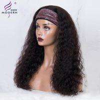 المعرض الحديثة شعر موجة المياه الهندي شعر الإنسان شعر مستعار عقال كامل آلة الباروكات للنساء السود إحياء عذراء الشعر 150٪ الكثافة