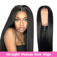 스트레이트 레이스 프론트 인간의 머리 가발 여성을위한 13x4 레이스 정면 가발 말레이시아 스트레이트 레이스 폐쇄 가발 4x4 끈 가발