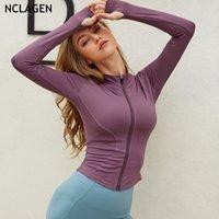 Gömlek Koşu Fermuar Uzun Kollu Spor Ceket Sonbahar Ve Kış Zayıflama Yoga Giyim Kadın Spor Salonu Spor Egzersiz