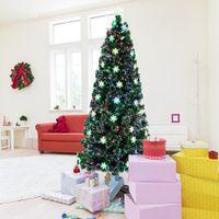 Albero di Natale artificiale di Waco 7ft con luci, piccole fibra ottica 290 rami, decorazioni festive pieghevoli di facile montaggio
