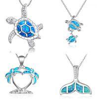 Moda prata cheia azul imitati opala tartaruga mar pingente de pingente para mulheres fêmea animal casamento oceano praia jóias presente1