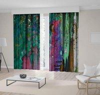 Vorhang Bäume Waldlaub Abstrakte Natur Ölgemälde Dekorative Moderne Kunstwerk Braun Grün Purple1