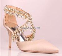 드레스 신발 화이트 레드 샴페인 실크 얇은 하이힐 펌프 블링 크리스탈 크로스 묶여 Stiletto 샌들 우아한 새틴 결혼식