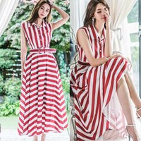 Korean Summer Women Sexy Dress maxi Stripe Notched Sleeveless Ankle-Length Party Loose Dress Vestidos Vintage Loose Belt Dresses