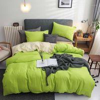 Conjuntos de ropa de cama. WensD Fruit Green Set 3-4 PCS / Include (Hoja, Funda de funda de almohada Funda de edredón) Color de colores liso Cama suave1