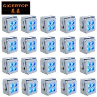Rechargeable rgbawuv 4x18w rgbawuv 6-in-1 mini led par light square battery power wireless dmx led lights
