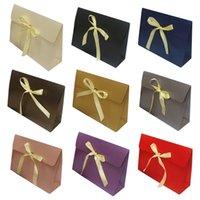 Confezione Borse regalo di carta con fiocco nastro deluxe sciarpa guanti cappelli gioielli scatola portatore borsa party favorire il matrimonio K3Na Wrap