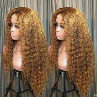 Bouncy rizado Ombre Miel Rubio Rubio Frente de encaje Pelucas de cabello humano con pelo de pelo Base de seda llena de encaje peluca Curl Diadema WIG 360 Frontal
