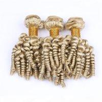 Virgin Brazilian Human Cabelo Bleach Bundles Blondles Ofertas 3 pcs Teunty Funmi # 613 Loira Human Hair Tece Romance Curls Cabelo WeFts Extensões