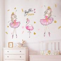 [Shijuekongjian] Dibujos animados chica bailarina pegatinas de pared DIY Flamingo Calcomanías de pared de animales para niños Habitaciones Dormitorio de bebé Decoración de la casa 201106