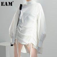 Frauen Blusen Hemden [Eam] Frauen Dreaxring Unregelmäßige große Größe Bluse Stehkragen Langarm Lose Hemd Mode Frühling Sommer 2021 1n