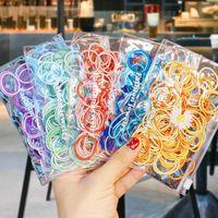 Akcesoria do włosów 100 sztuk / torby Dziewczyny Cute Candy Color Podstawowe Elastyczne Zespoły Rugobili Scrunchie Ponytail Uchwyt Ornament