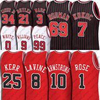 Derrick Zach Rose Lavine Jersey Custom Chicagos Tony Steve Kukoc Kerr Jerseys BJ Armstrong Patrick Coby Williams Blanc Butler