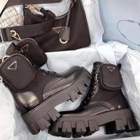 مصمم النساء نحى الرايات الأحذية أعلى جلد البقر النايلون النايلون الأحذية القابلة للإزالة حقيبة السيدات الأسود في الهواء الطلق