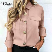 CELMIA Kadın Yaka Uzun Kollu Gömlek Moda Bluz Casual Ofis Bayan Pockets Tops Gevşek Katı Düğmeler Artı Boyutu İş Blusas