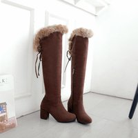 New winter style warm Knee High boots snow boots Women High heels True fur warm Women shoes Size 34-43