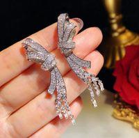 Sterling Silver Luxo Brilhante Moda Bow Designer de jóias brincos longos borla Dangle Brincos com Cristal CZ diamante por Mulheres casamento