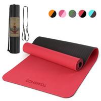 TOMSHOO 72,05 × 24.01in portátil duplo Dual-cor Yoga Mat Thicken Sports tapete antiderrapante Exercício para Fitness