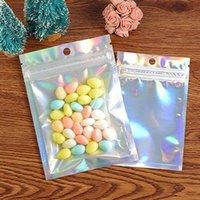 Couleur holographique Multiple Taille Sacs à épreuve de l'odeur 100 pièces Sacs de mylar refermables Sacs à serrure zippée Clear Sacs de gaspillage de bonbons Zip D0501