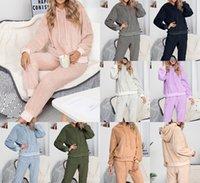 Женщины Scestsuits Осень Осень зимняя толстовка толстовки брюки плюшевые два частя нарядов трексуита костюмы теплые наборы одежды